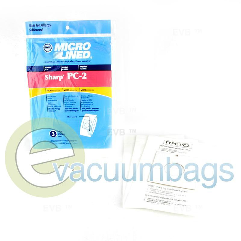 Sharp Type PC-2 Micro-Lined Paper Vacuum Bags by DVC 3 Pack  451088 86-2405-01