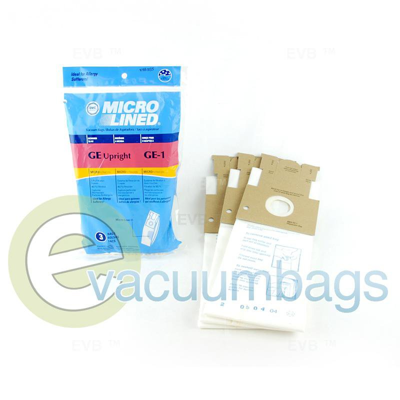 GE Style GE-1 Upright Micro-Lined Paper Vacuum Bag by DVC 3 Pack  455555 GER-1471