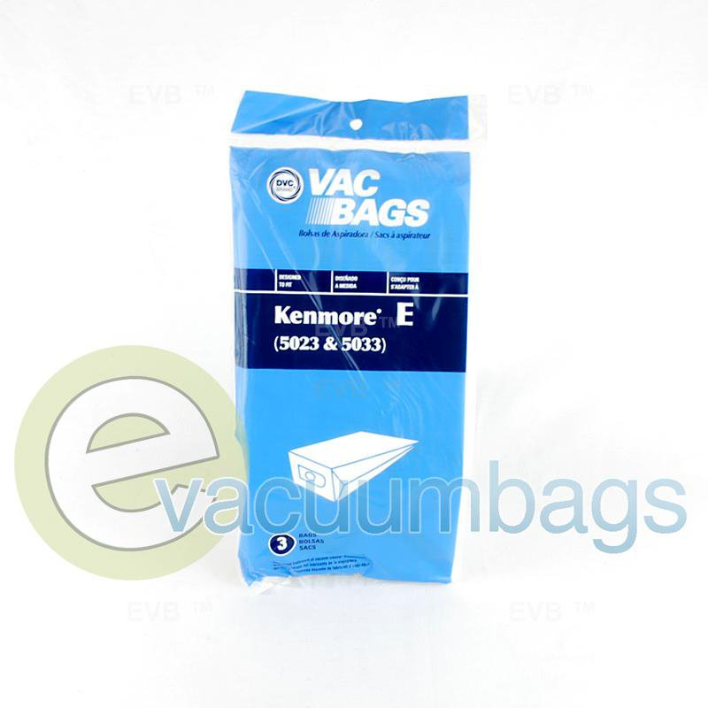 Kenmore Style E 5023 / 5033 Canister Paper Vacuum Bags by DVC, Generic 3 Pack #405566