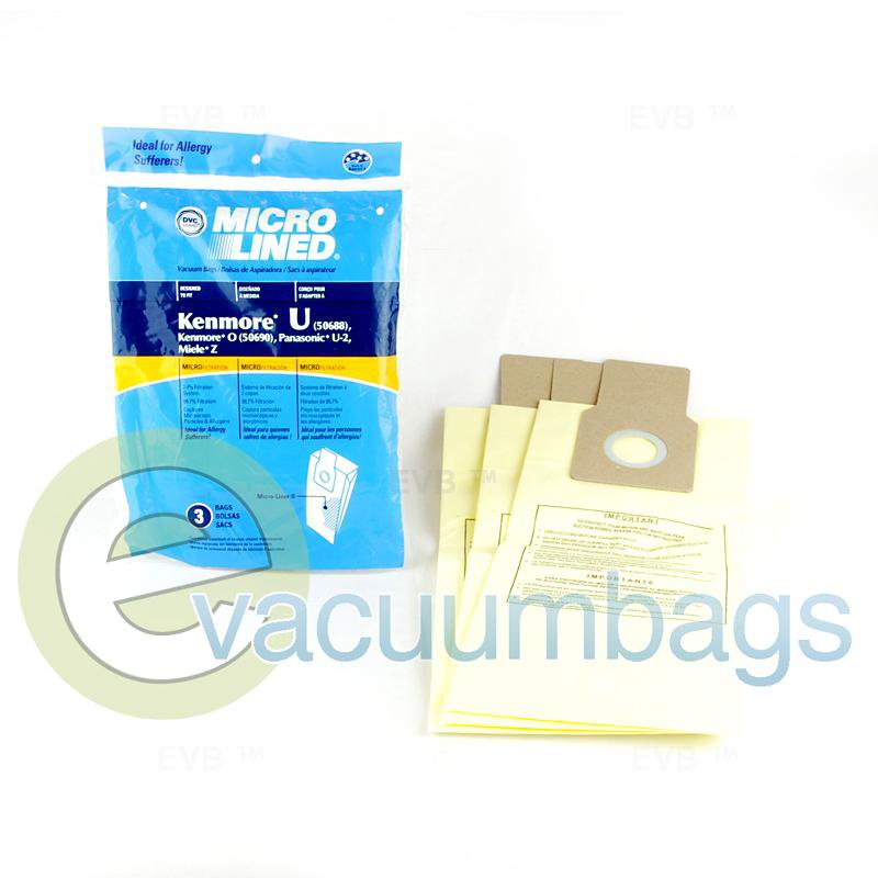 DVC Micro-Lined Upright Paper Vacuum Bags for Kenmore & Panasonic, 3 Pack #437654
