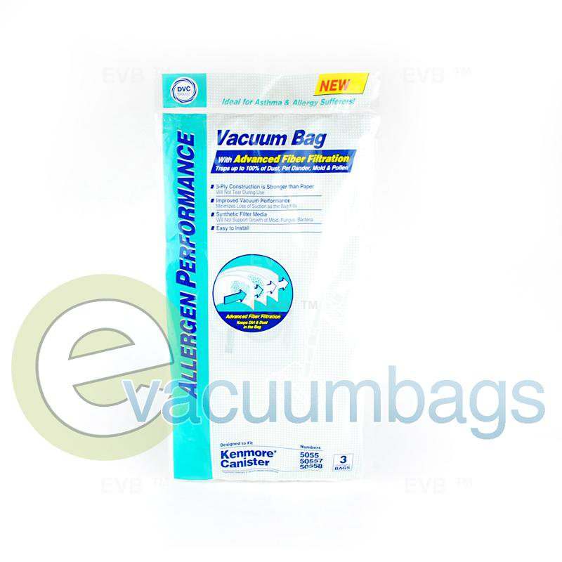 Kenmore 5055 50557 and  50558 Anti-Allergen Synthetic Vacuum Bags by DVC 3 Pack  464724 KER-14551A