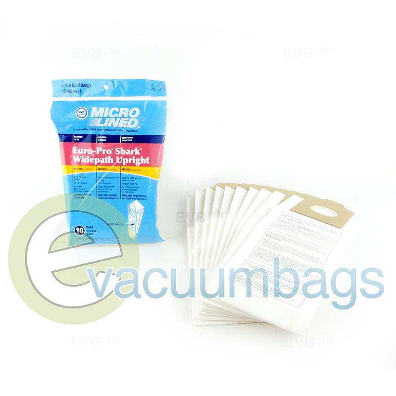Shark Euro-Pro Widepath Upright Vacuum Bags by DVC 10 Pack  471534 EUR-1470