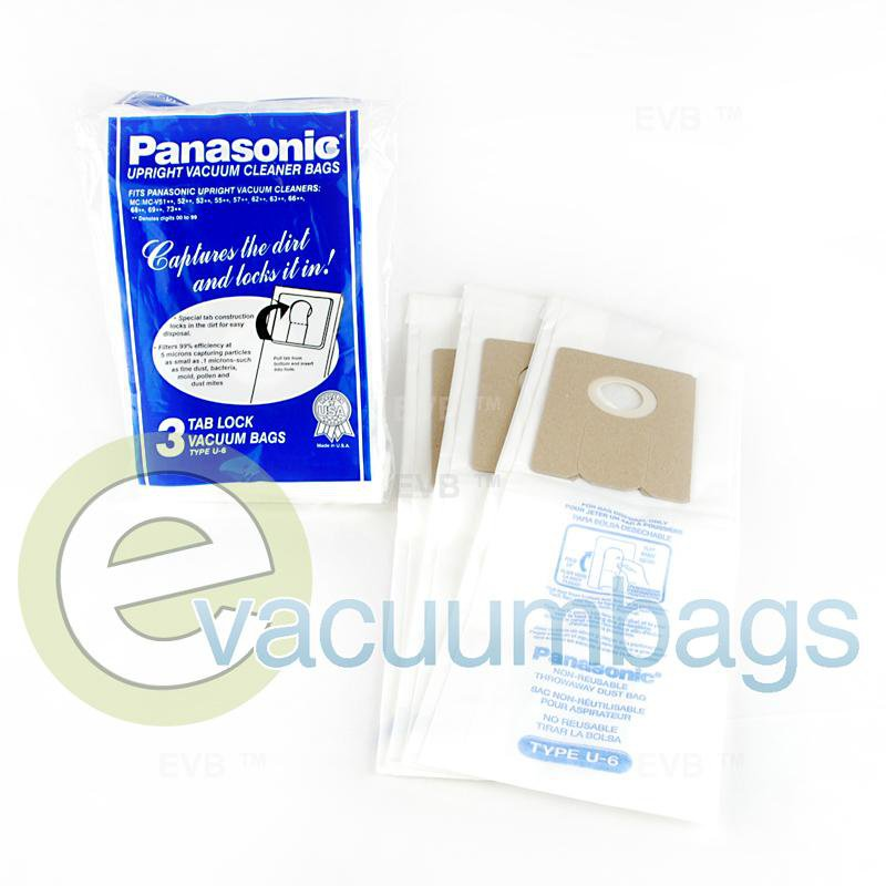Panasonic Type U-6 Upright Paper Vacuum Bags 3 Pack  MC-V145M 61-2428-02