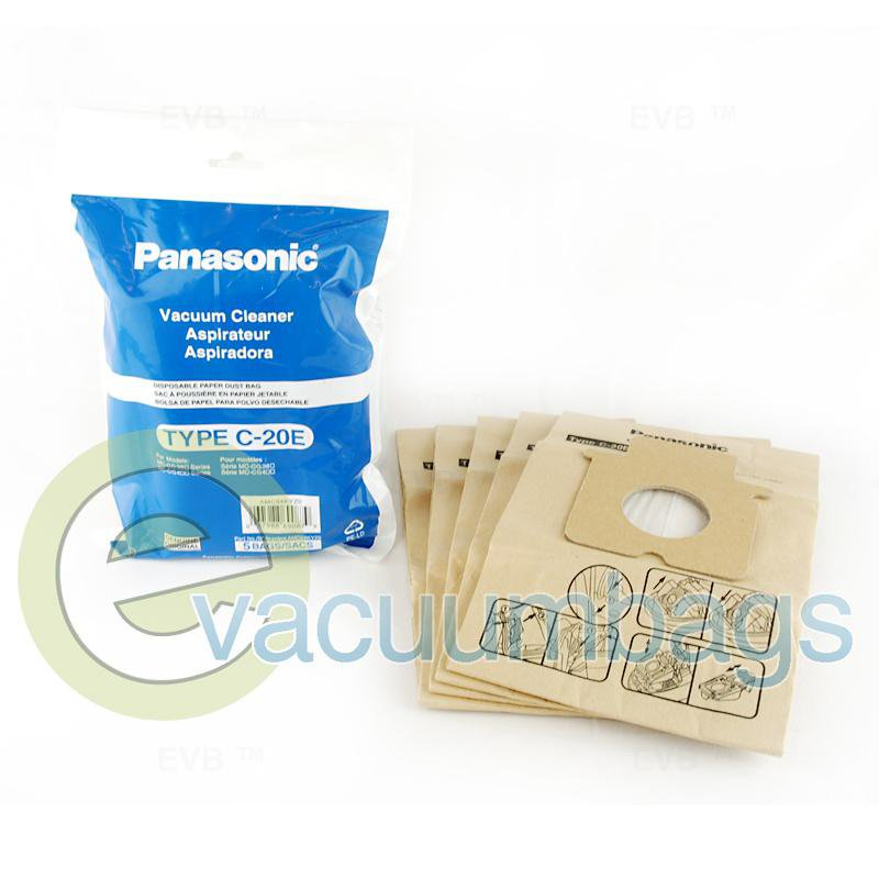 Panasonic Type C-20E Compact Canister Paper Vacuum Bags 5 Pack  AMC94KYZ0 63-2412-01