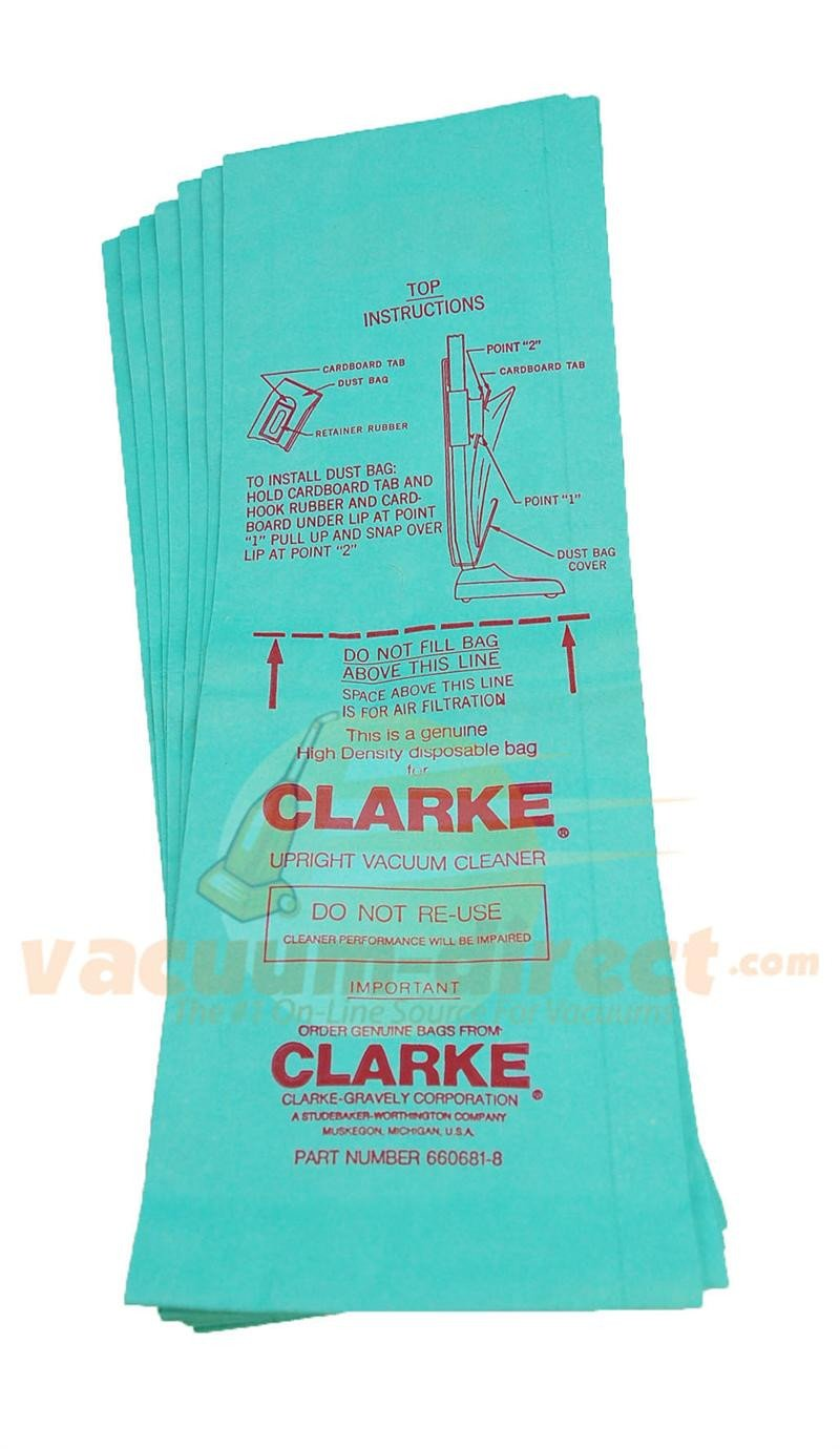 Clarke 660681-8 High Density Paper Upright Vacuum Bags 7 Pack 660681-8