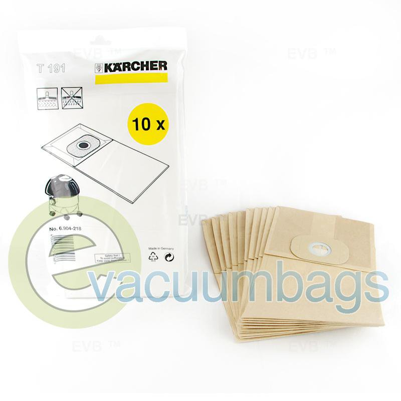 Karcher T 191 Commercial Canister Paper Vacuum Bags 10 Pack  6.904-218 6904218