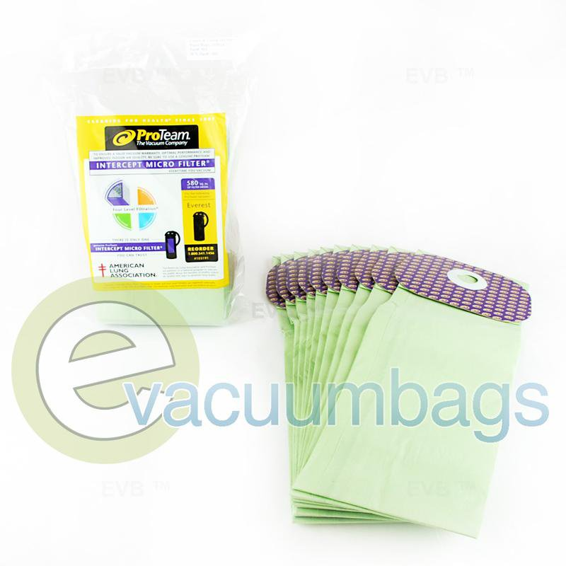 Castex & Tennant Intercept Micro Vacuum Bags by ProTeam 10 Pack  801 801