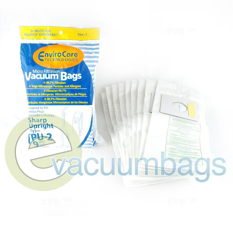 Sharp Type PU-2 Upright Paper Vacuum Bags by EnviroCare 9 Pack  844-9 86-2401-02
