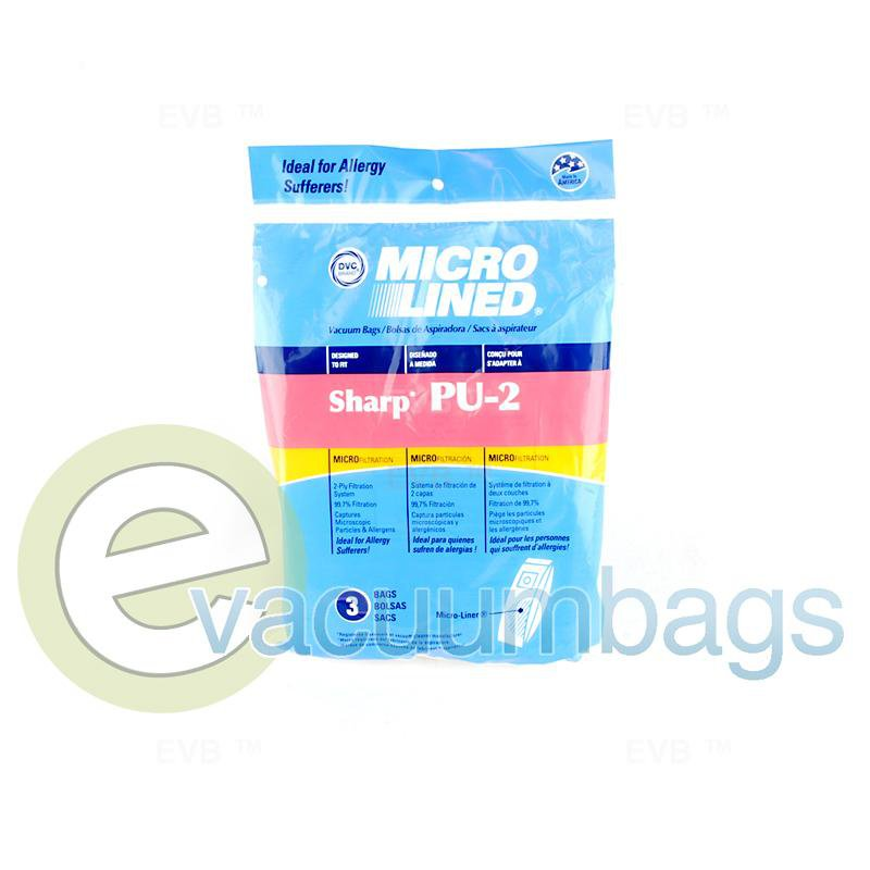 Sharp Type PU-2 Upright Micro-Lined Paper Vacuum Bags by DVC 3 Pack  444820 SHR-14355