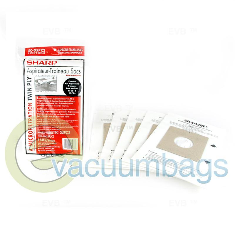 Sharp Type PC-2 Micro Filtration Twin Ply Canister Paper Vacuum Bags 5 Pack  EC-05PC2 87-2420-01