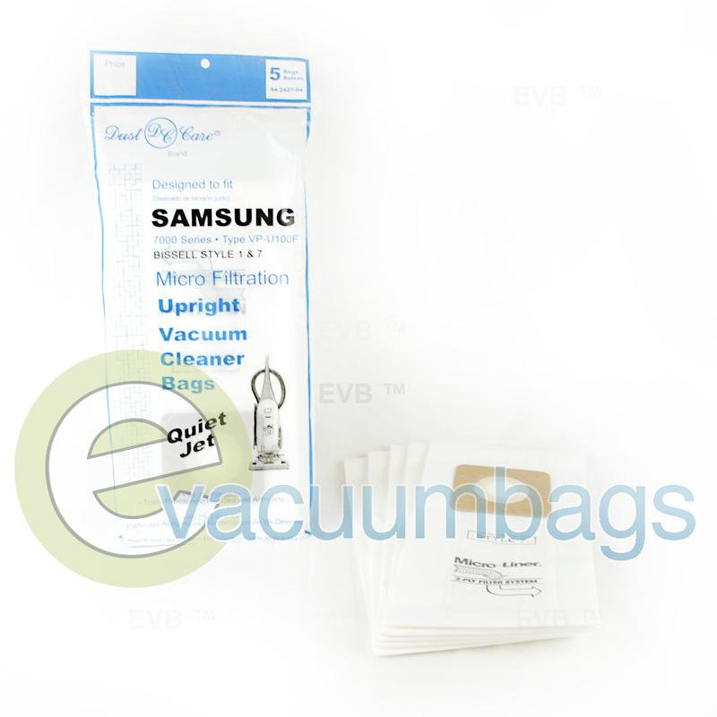 Bissell Style 1 / 7 & Samsung Style VP-U100F Upright Micro Filtration Paper Vacuum Bags, 5 Pack #94-2427-04