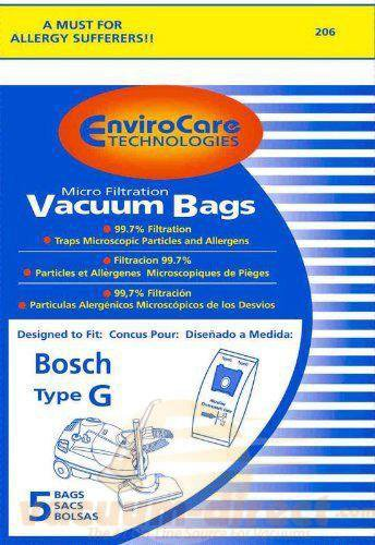 Bosch Type G Microlined Paper Vacuum Bags by EnviroCare, 5 Pack #206