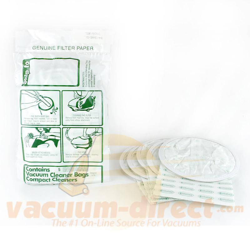 Compact & TriStar Canister and Backpack Generic Vacuum Bags by EnviroCare, 5 Pack #738-5SEC