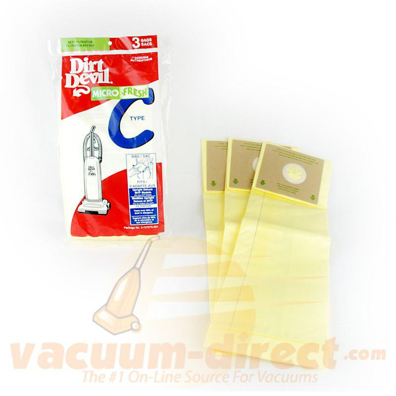 Dirt Devil Type C Microfresh Vacuum Bags for Deluxe & MVP Uprights 3 Pack 81-2406-02