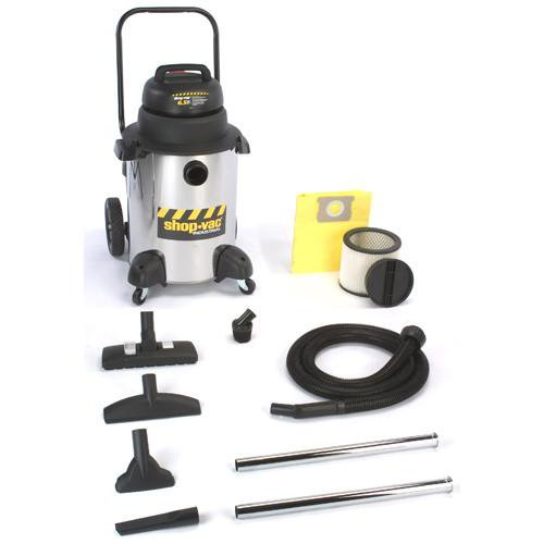 "Shop-Vac 10 Gallon Stainless Steel Industrial ""Super Quiet"" General Purpose Wet/Dry Vacuum 6.5 Peak HP 9252310"