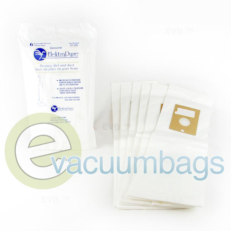 ElektraPure Easy Glider EP1000 EP8000 HUL300 CUL300 Paper Vacuum Bags 6 Pack  EP-1405 EP-1405
