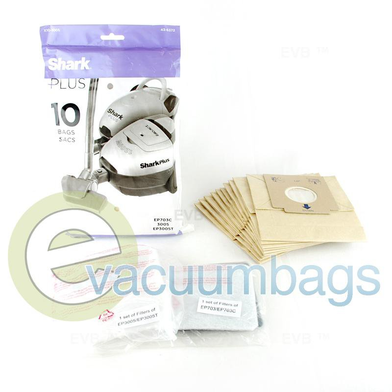Shark Euro-Pro EP703C 3005 EP3005T Canister Vacuum Bags 10 Pack + 2 Filters  X10-3005 EU-14035