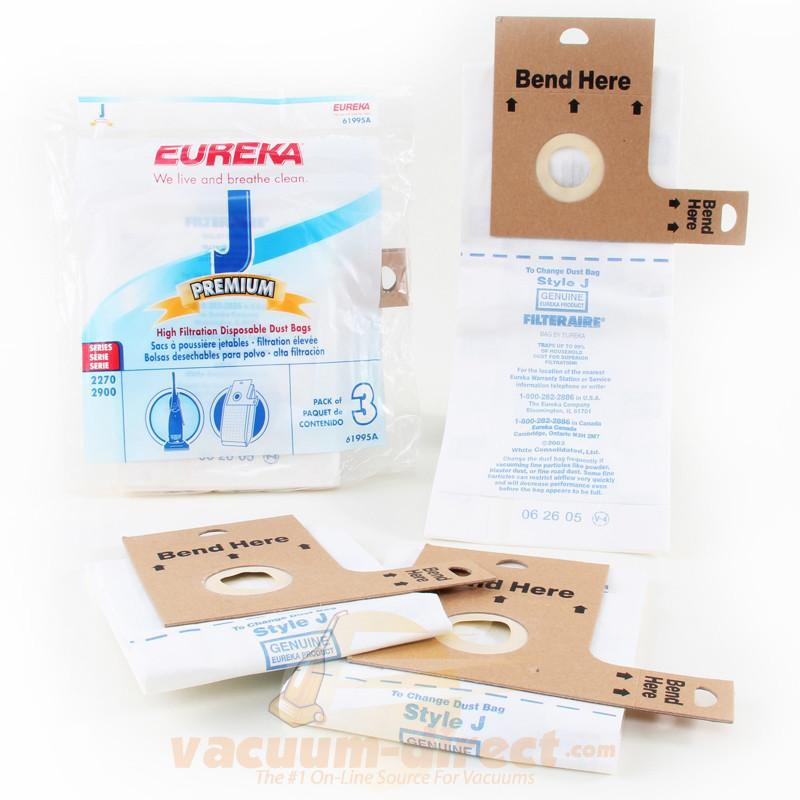 Eureka Style J Premium Upright Vacuum Bags 3 Pack Genuine Eureka Parts E-61995