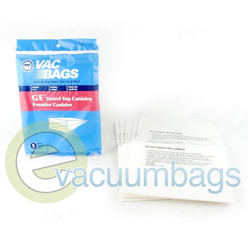 GE Swivel Top Canister Paper Vacuum Bags by DVC 5 Pack  405329 GER-1400