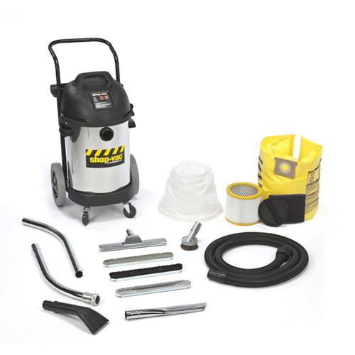 Shop-Vac 10 Gallon Stainless Steel Commercial Professional Wet/Dry Vacuum w/ Dolly 4.0 Peak HP 9241110