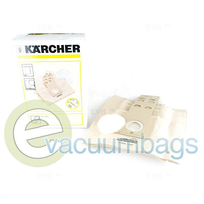 Karcher RC3000 Robocleaner Filter Vacuum Bag 5 Pack + 1 Micro Filter  6.904-257 KA-1400