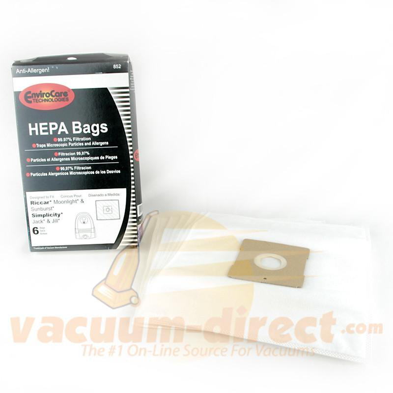 Riccar Type Z Generic HEPA Vacuum Bags by EnviroCare for Moonlight Sunburst & Pizzazz 6 Pack  852 54-2430-09