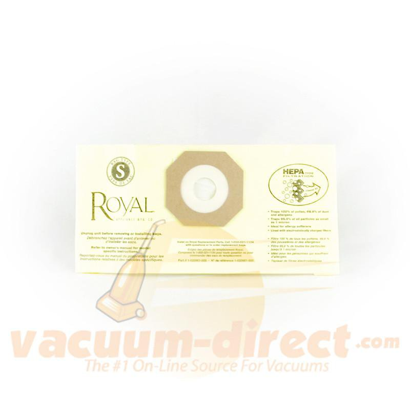 Royal Type S HEPA Filtration Vacuum Bag Single Bag Genuine Royal 83-2448-06
