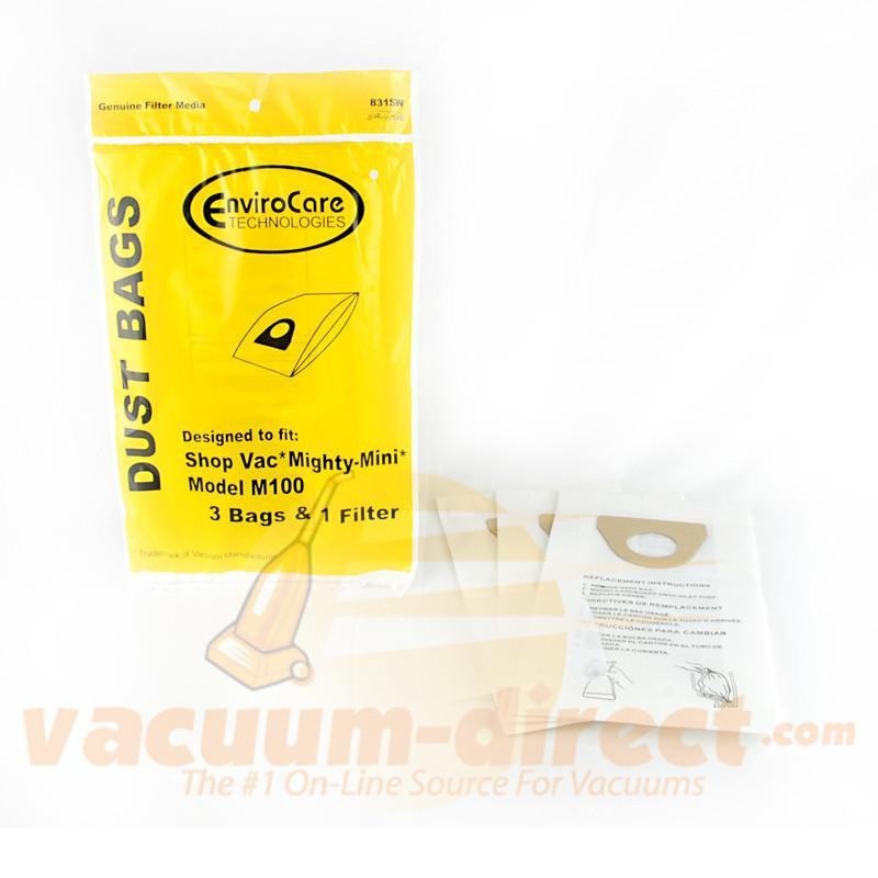 Shop Vac Mighty -Mini M100 Generic Vacuum Bags by EnviroCare, 3 Bags and 1 Filter #831SW