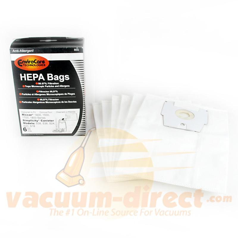 Simplicity Type H Generic HEPA Canister Vacuum Bags by EnviroCare 6 Pack  855 54-2432-03