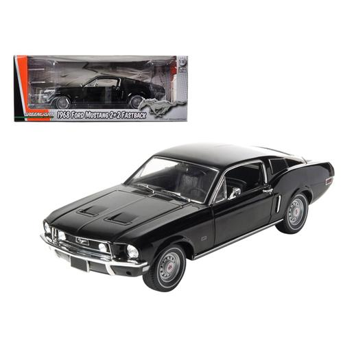 1968 Ford Mustang GT 2+2 Fastback Black Limited Edition 1 of 1800 Produced Worldwide 1/18 Diecast Model Car by Greenlight