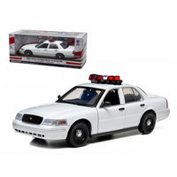 Ford Crown Victoria Unmarked Plain White Police Car Interceptor With Lights and Sounds 1/18 Diecast Model Car by Greenlight