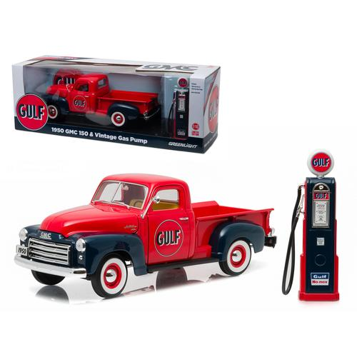 1950 GMC 150 Pickup Truck Gulf Oil with Vintage Gas Pump 1/18 Diecast Model Car  by Greenlight