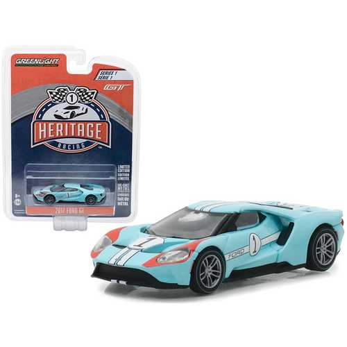 2017 Ford GT Blue #1 - Tribute to 1966 Ford GT40 MK II #1 Racing Heritage Series 1 1/64 Diecast Model Car by Greenlight