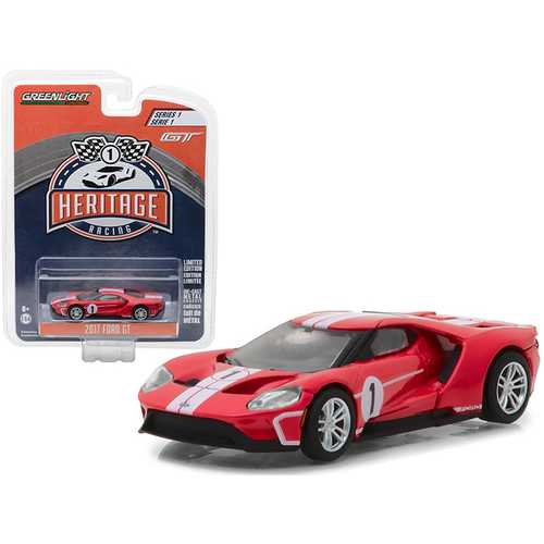 2017 Ford GT Red #1 - Tribute to 1967 Ford GT40 MK IV #1 Racing Heritage Series 1 1/64 Diecast Model Car by Greenlight