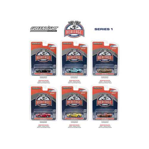 Ford GT Racing Heritage Series 1, 6pc Set 1/64 Diecast Model Cars by Greenlight