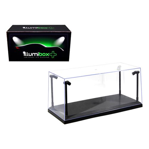 Collectible Display Show Case with LED Lights for 1/18 1/24 Models with Black Base by Illumibox