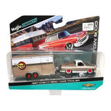 1987 Chevrolet Pickup Truck 1500 Gold and Car Trailer Tow & Go 1/64 Diecast Model by Maisto
