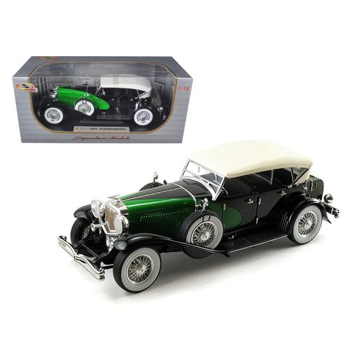 1934 Duesenberg Model J Black/Green 1/18 Diecast Model Car by Signature Models