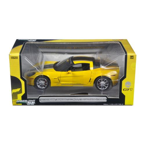 2009 Chevrolet Corvette C6 Z06 GT1 Jake Edition Yellow 1/24 Diecast Car Model by Greenlight