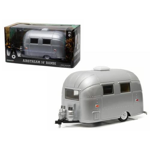 Airstream Bambi 16' Camper Trailer Silver for 1/24 Scale Model Cars and Trucks 1/24 Diecast Model by Greenlight