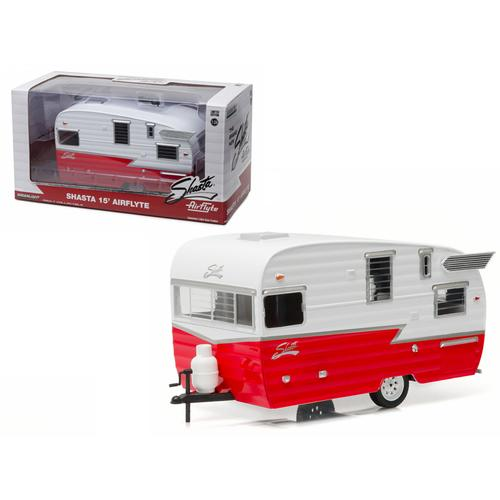 Shasta Airflyte 15' Camper Trailer Red for 1/24 Scale Model Cars and Trucks 1/24 Diecast Model by Greenlight