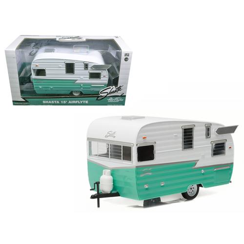 Shasta Airflyte 15' Camper Trailer Green for 1/24 Scale Model Cars and Trucks 1/24 Diecast Model by Greenlight