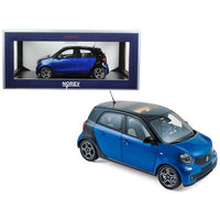2015 Smart For Four Black and Blue 1/18 Diecast Model Car by Norev