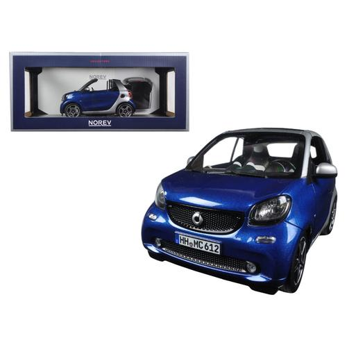 2015 Smart For Two Cabrio Blue and Silver 1/18 Diecast Model Car by Norev