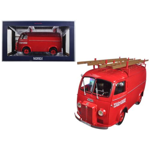 "1955 Peugeot D4A with Ladders ""Pompiers"" 1/18 Diecast Model Car by Norev"