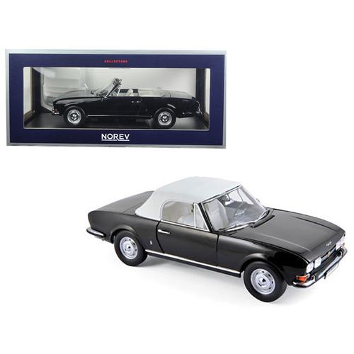 1971 Peugeot 504 Cabriolet Black 1/18 Diecast Model Car by Norev