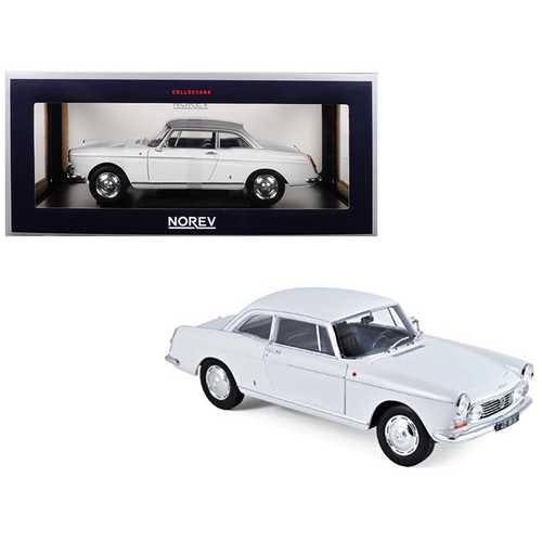 1967 Peugeot 404 Coupe Arosa White 1/18 Diecast Model Car by Norev
