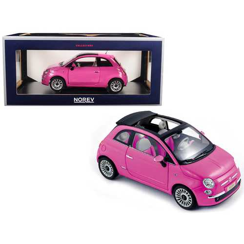 2010 Fiat 500C Cabrio Pink 1/18 Diecast Model Car by Norev