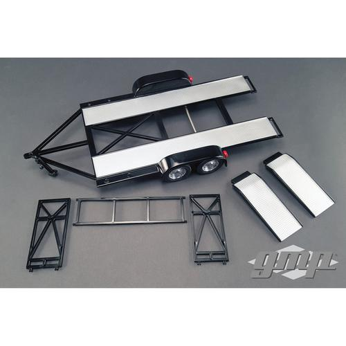 Tandem Car Trailer with Tire Rack Black 1/18 Diecast Model by GMP