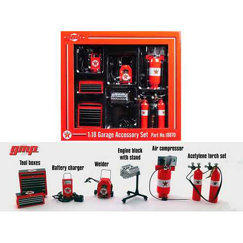 6pc Shop Tools Set Texaco 1/18 Diecast Replica by GMP